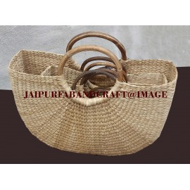 BAMBOO WEAVE ROUND BAG SET OF 5, (COMBO PACK)