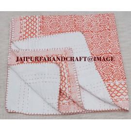 ORANGE EYEPRINT  BABY  QUILT (HANDBLOCK) , JAIPUR, RAJASTHAN, INDIA