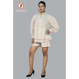Women Cotton striped shirt and shorts night suit