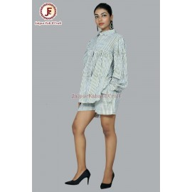 Women Cotton striped shirt and shorts night suit .