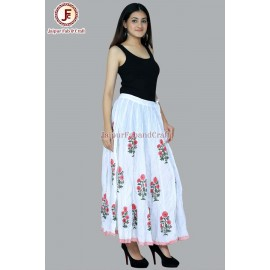 Women Block print umbrella skirt