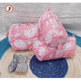 Cotton Hand block print Toiletry bag