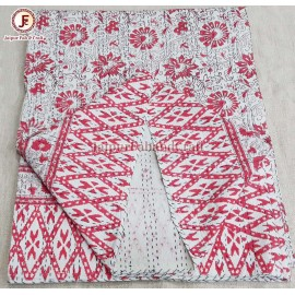Cotton kantha bed cover